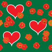 background with red hearts and orange flowers - stock illustration