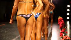 Fitness Models in Bikinis - On stage posing. - stock footage