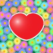 Background with red hearts and flowers Stock Illustration