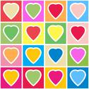 Stock Illustration of background with multicolor hearts on grid