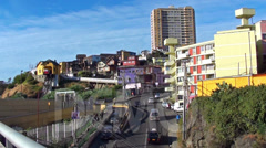 0802 Buildings on a hill, Valparaíso Chile Stock Footage