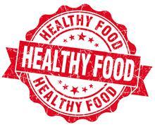 Terveellinen ruoka punainen grunge sinetti eristetty valkoisella pohjalla Piirros