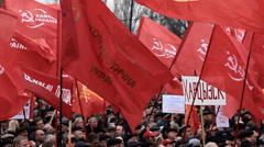 DONETSK anniversary of the socialist revolution - stock footage