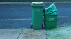Recycling waste on frosty morning Stock Footage