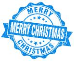 Stock Illustration of merry christmas blue grunge stamp