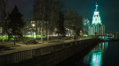 4K. Time Lapse Cathedral Of Saint John The Baptist. Dnepropetrovsk, Ukraine Stock Footage
