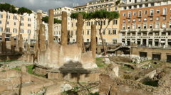 Largo di Torre Argentina square in Rome, Italy Stock Footage
