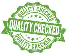 Quality checked grunge green vintage round isolated seal Stock Illustration