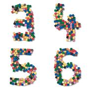 children 3456 complete font available - stock photo