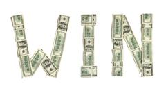 """Word """"WIN"""" made of dollars - stock photo"""
