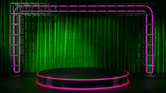 Loop lithts on neon stage Stock Footage