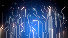 Blue computer board loopable background Stock Footage