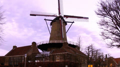Old windmill in small town Sluis. Stock Footage