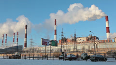 City generating plant in Russia at winter Stock Footage