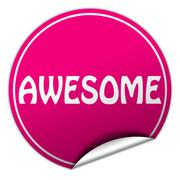 Awesome round pink sticker on white background Stock Illustration