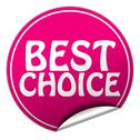 Stock Illustration of best choice round pink sticker on white background