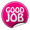 Stock Illustration of good job round pink sticker on white background