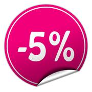 discount round pink sticker on white background - stock illustration