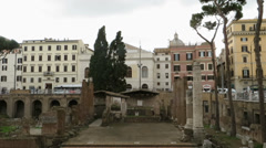Ancient Roman ruins at Largo di Torre Argentina square in Rome, Italy Stock Footage