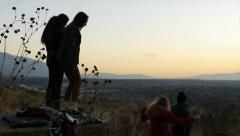 Five Teen Girls Switching Viewpoints At An Overlook Stock Footage