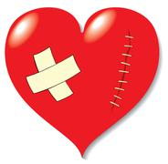 wound on heart from love. - stock illustration