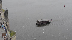 ship on the river in Prague - stock footage