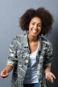 Trendy african american woman with an afro Stock Photos