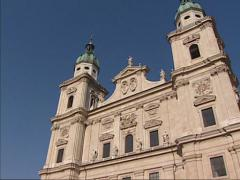 Salzburger Dom, a seventeenth-century Baroque cathedral - tilt up front Stock Footage