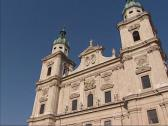 Stock Video Footage of Salzburger Dom, a seventeenth-century Baroque cathedral - tilt up front