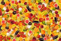 different types of fruit and vegetables as background, colorful - stock illustration