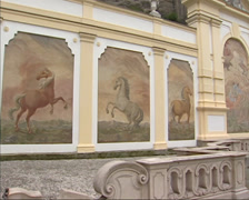 Pan - Horse Pond at Herbert von Karajan Square SALZBURG, AUSTRIA Stock Footage