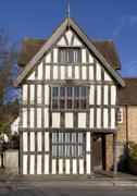 tudor house facade, england - stock photo