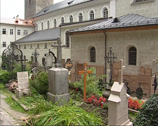 Stock Video Footage of SALZBURG, AUSTRIA - Tombstones at St. Peters Cemetery