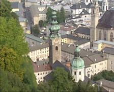 High angle view at St. Peters Abbey or Stift Sankt Peter, SALZBURG, AUSTRIA Stock Footage
