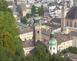 Stock Video Footage of high angle view at St. Peters Abbey or Stift Sankt Peter, SALZBURG, AUSTRIA
