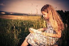outdoor reading - stock photo