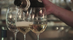 Three glasses of champagne Stock Footage