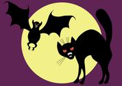 Stock Illustration of bat and cat.