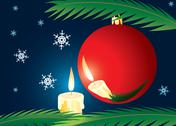 Stock Illustration of candle and xmas ball. a christmas card.