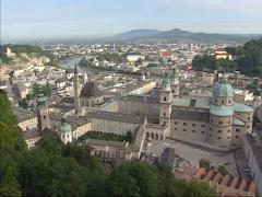 SALZBURG, AUSTRIA - high angle view + pan historic city center altstadt Stock Footage