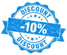 discount 10% blue grunge stamp - stock illustration
