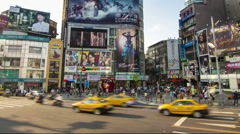Taipei city Ximen junction traffic time lapse - stock footage