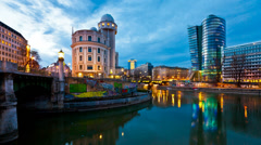 Time lapse of the Danube Canal of Vienna - stock footage
