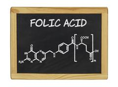 chemical formula of folic acid on a blackboard - stock photo