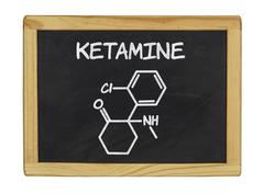 Chemical formula of ketamine on a blackboard Stock Photos