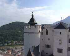 High angle view from fortress Hohensalzburg Castle at altstadt Salzburg old town Stock Footage