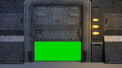 Avaruusalus Spacestation Ovi auki Sulje green screen Arkistovideo