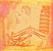 Kissing couple in italy - vintage illustration Stock Illustration