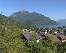 View from village of Sankt Gilgen at Wolfangsee, in the Salzkammergut region Stock Footage