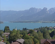 High angle view Sankt Gilgen village at the shore of lake Wolfgangsee Stock Footage